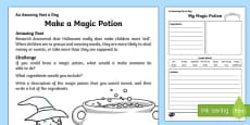 Make a Magic Potion Activity Sheet