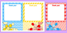 3rd Birthday Party Thank You Notes
