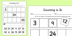 Counting in 3s Cut and Stick Activity Sheet