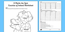 X Marks the Spot Counties of Ireland Worksheet