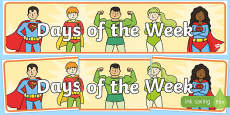 Superhero Themed Days of the Week Display Banner