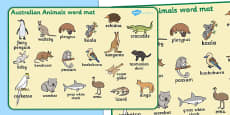 Australian Animals Word Mat
