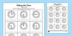 O\'clock, Half Past and Quarter Past Times Activity Sheet Arabic Translation