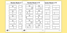 Bar Modelling Number Bonds to 10 Differentiated Activity Sheet Pack