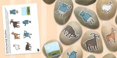 The Three Billy Goats Gruff Story Stone Image Cut Outs