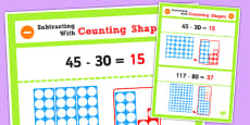Year 2 Subtracting 2 Digit Numbers and Tens Using Counting Shapes Display Poster