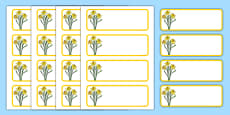 Daffodil Themed Editable Drawer-Peg-Name Labels (Blank)