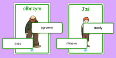Jack and the Beanstalk Character Describing Words Matching Activity Polish