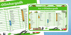 An t-Ollmhargadh The Supermarket Role Play Shopping Checklist Gaeilge Activity Sheet