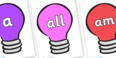 Foundation Stage 2 Keywords on Lightbulbs (Multicolour)