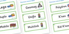 Palm Tree Themed Editable Construction Area Resource Labels