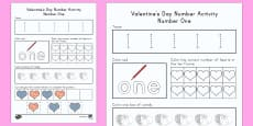Valentine's Day USA Number One Activity Sheet