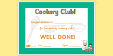 Cookery Club Certificate