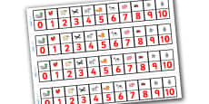 Number Track 0-10 to Support Teaching on What the Ladybird Heard