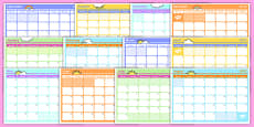 Academic Year Monthly Calendar Planning Template 2016-2017