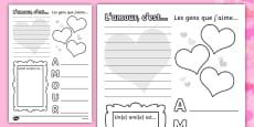 Valentine's Day Activity Sheet French