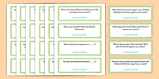 Common Core Fourth Grade Reading Literature Question Stem Cards USA