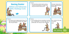 * NEW * KS1 Saving Easter Addition and Subtraction Maths Challenge Cards