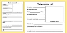 New Teacher All About Me Writing Frame Spanish