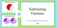 Subtracting Fractions With the Same Denominator PowerPoint