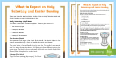 Catholic What to Expect on Holy Saturday and Easter Sunday Fact File