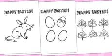 Australia - Easter Card Templates Colouring