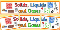Solids Liquids and Gases Display Banner