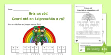 Break the Code Seachtain Na Gaeilge Activity Sheet
