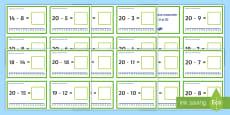 * NEW * Scăderi până la 20 pe axa numerelor Cartonașe cu provocări