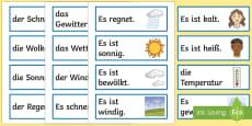 * NEW * Weather Flashcards German