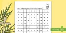 Tableau des nombres jusqu'à 100 : Pâques