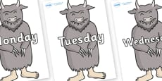 Days of the Week on Wild Thing (3) to Support Teaching on Where the Wild Things Are