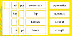 The Olympics Artistic Gymnastics Word Cards