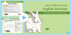 * NEW * Year 5 English Revision Morning Starter Weekly PowerPoint Pack 3
