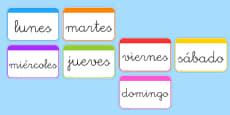 Tarjetas de vocabulario Los días de la semana