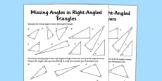 Calculating Angles of a Right-Angled Triangle Activity Sheet