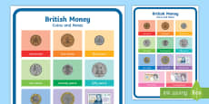 * NEW * British Money Coins and Notes A4 Display Poster