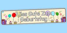 German Happy Birthday Display Banner