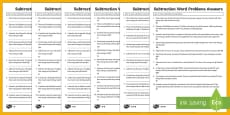 Year 2 Subtraction Word Problems Differentiated Activity Sheets