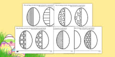 Easter Egg Symmetry Sheets Arabic Translation