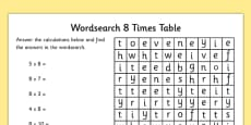 Multiplication 8 Times Tables Word Search Activity Sheet