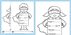 All About Me Superhero Writing Template Arabic Translation