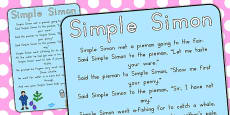 Australia - Simple Simon Nursery Rhyme Poster