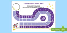 5 Times Table Space Race Activity Sheet