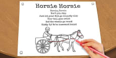 Horsie Horsie Colouring in Sheet