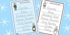 The Snow Queen Trace the Words Worksheets
