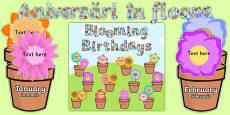 Blooming Birthdays Flower Display Pack Romanian Translation Romanian/English - Engleză / Română