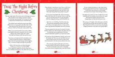 Twas The Night Before Christmas Lyric Sheet