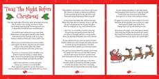 Twas The Night Before Christmas Lyric Sheet