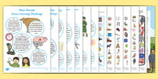 Letters and Sounds Phase 1 Home Learning Challenge Sheet Resource Pack Nursery FS1